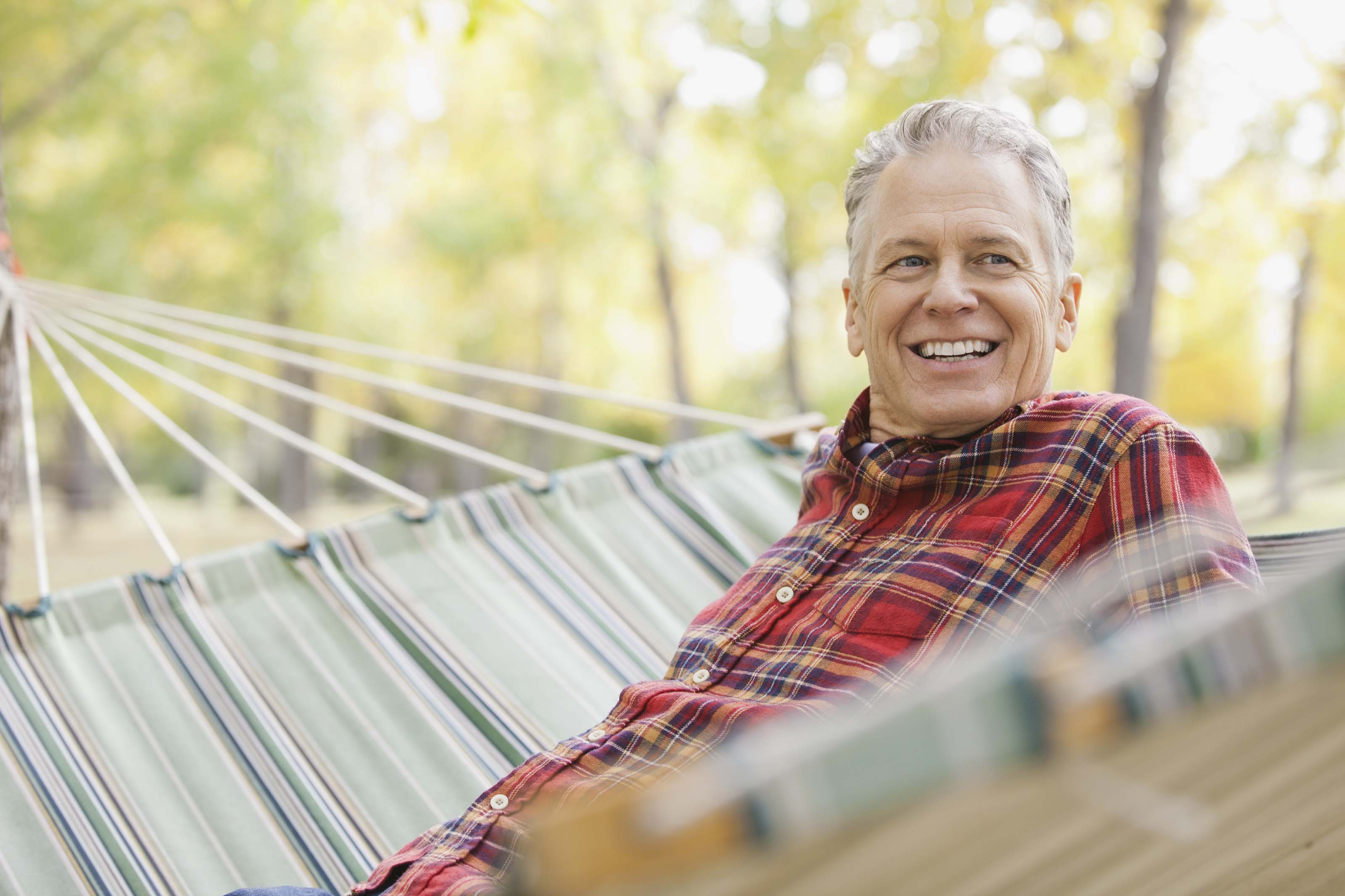 middle aged man in hammock