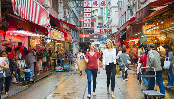 Women walking in Hong Kong
