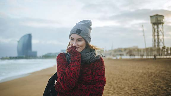 Woman at Barceloneta beach